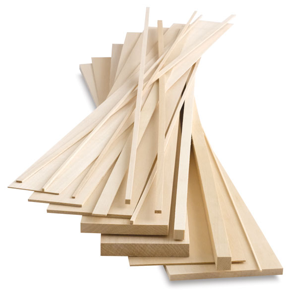 "1/16"" x 1/8"" x 24"" Basswood Sticks, 10/Pack"